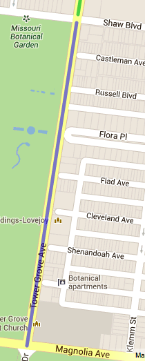 Map of Tower Grove Avenue from Magnolia to Shaw.