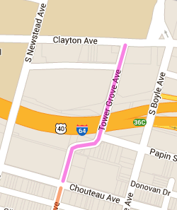 Map of Tower Grove Avenue from Chouteau to Clayton