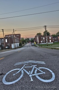 New sharrows have been placed all along Tower Grove Avenue from Vandeventer to Clayton.