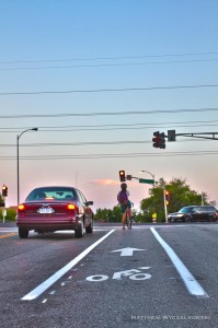"""Short """"bike lane"""" on southbound Tower Grove Ave at Vandeventer allows cyclists to advance to the intersection."""