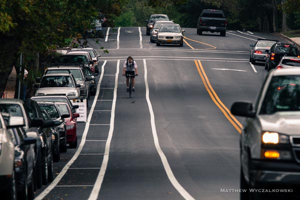 Cyclist on the new bike lanes, on Arsenal facing west.  The lanes encourage cyclists to ride well away from parked cars.