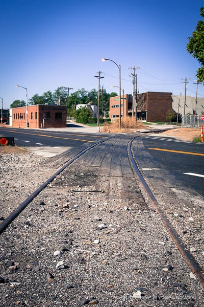 A significant concern to cyclists is the railroad track which crosses the road obliquely.