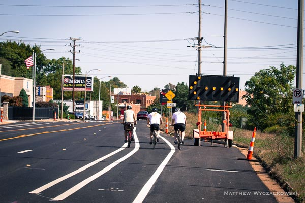 Narrowing of street is a problem - the lane disappears.  For many riders, this will be the end of the line.
